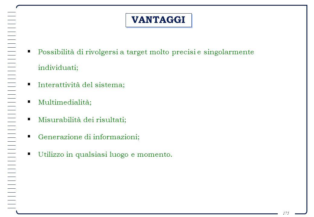 VANTAGGI Possibilità di rivolgersi a target molto precisi e singolarmente individuati; Interattività del sistema;