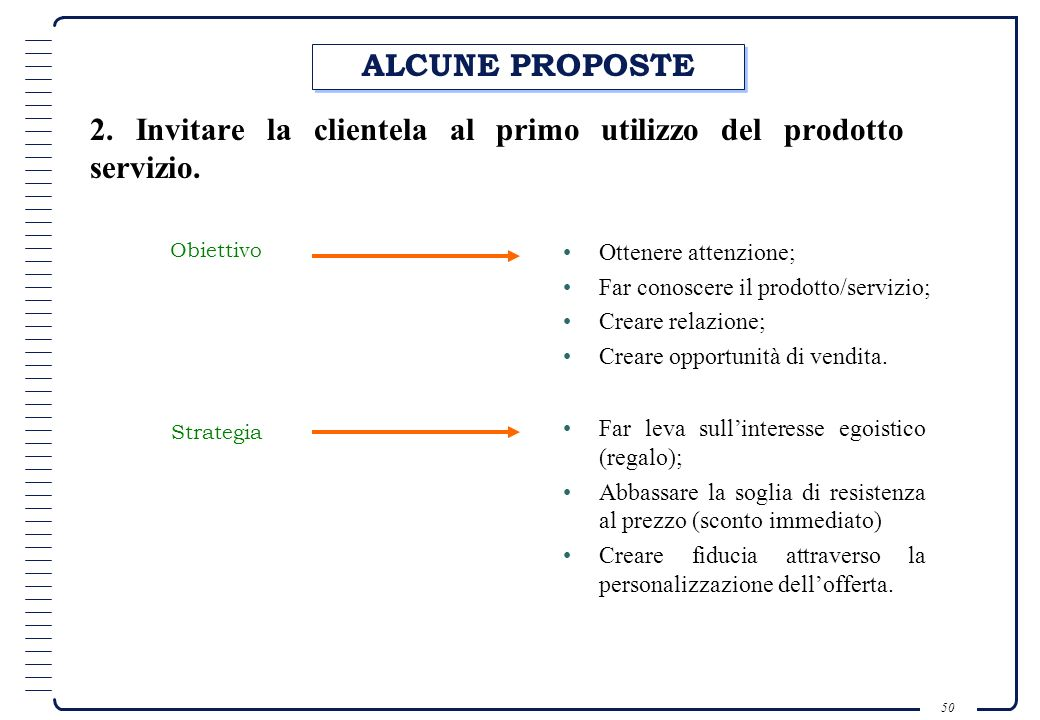 2. Invitare la clientela al primo utilizzo del prodotto servizio.