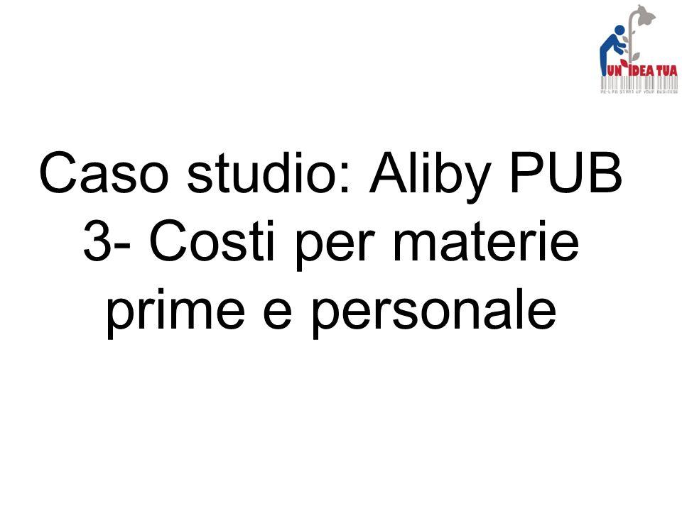 Caso studio: Aliby PUB 3- Costi per materie prime e personale