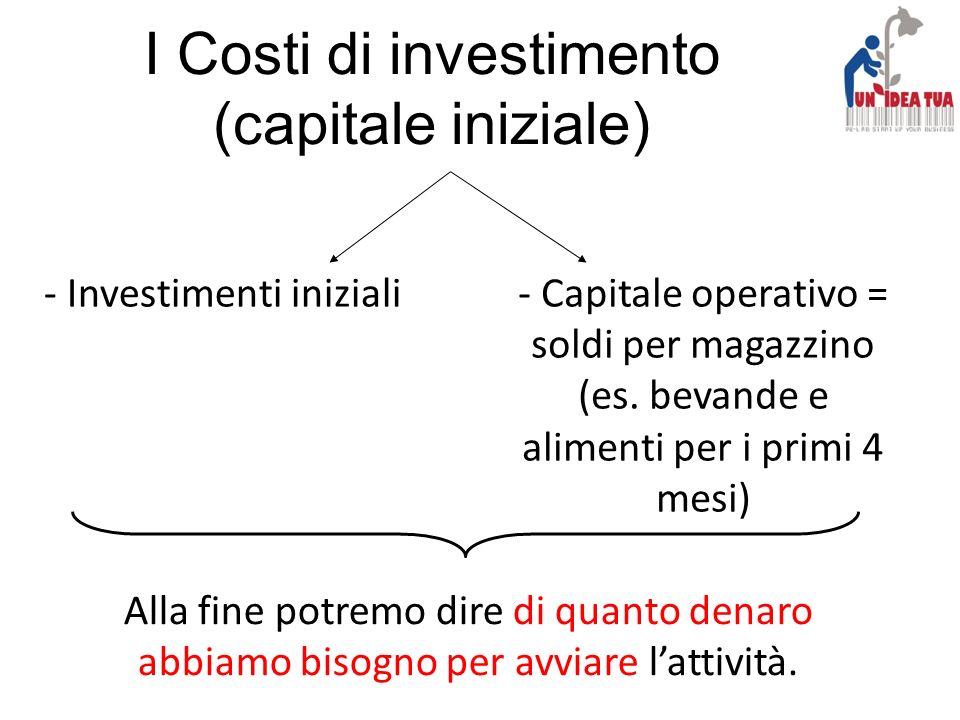 I Costi di investimento (capitale iniziale)