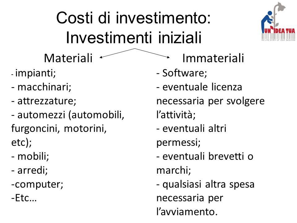 Costi di investimento: Investimenti iniziali