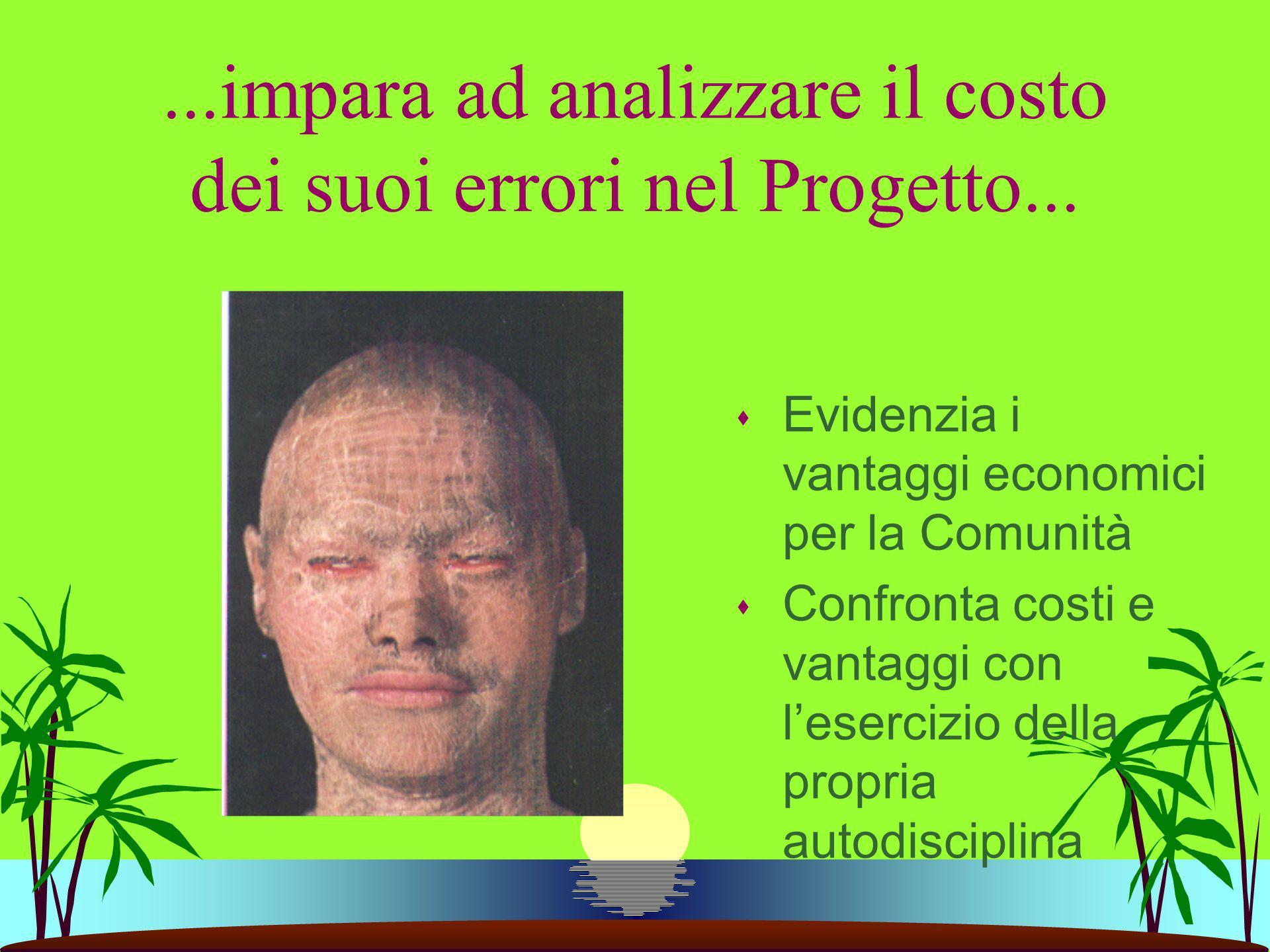 ...impara ad analizzare il costo dei suoi errori nel Progetto...