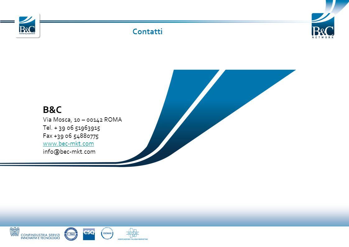 B&C Contatti Via Mosca, 10 – 00142 ROMA Tel. + 39 06 51963915