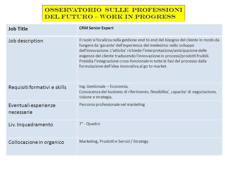 Osservatorio sulle Professioni del Futuro – Work in Progress Job Title