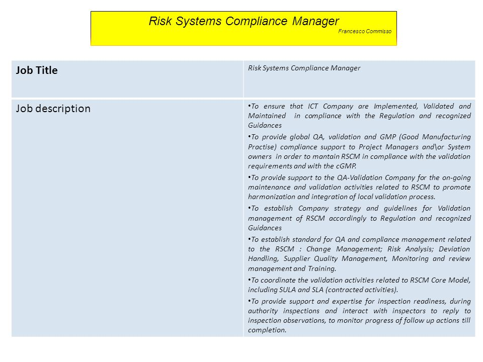 Risk Systems Compliance Manager