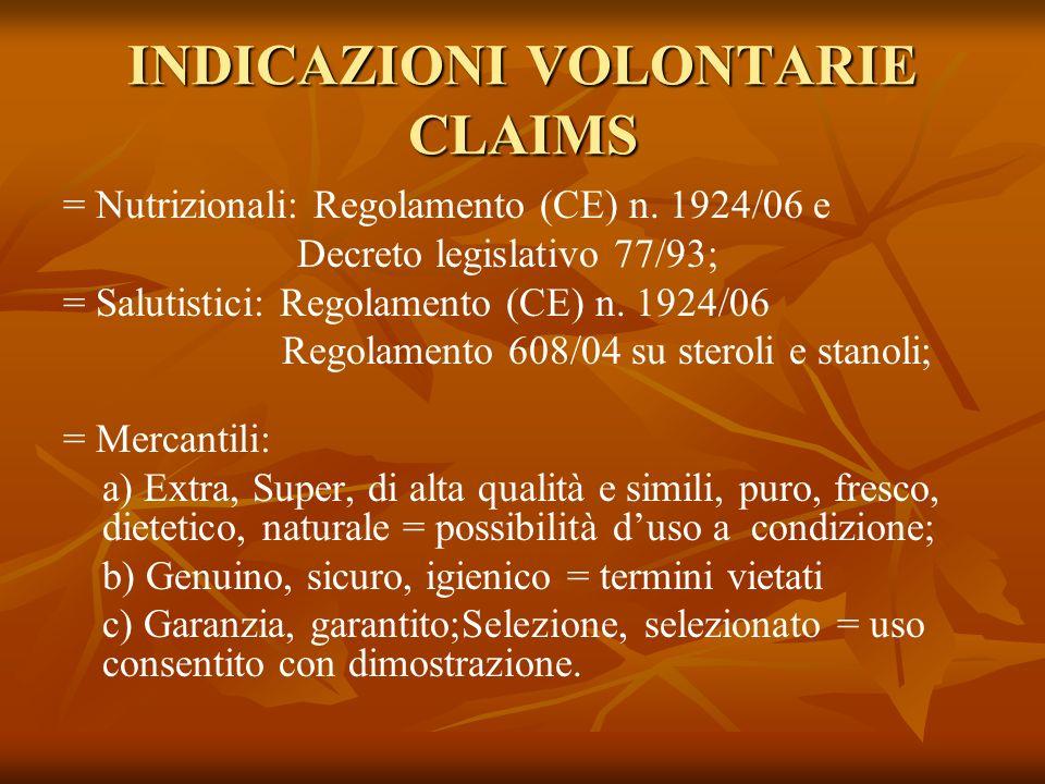 INDICAZIONI VOLONTARIE CLAIMS