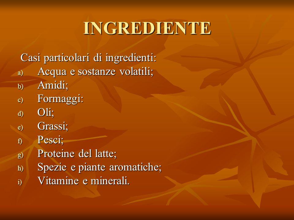INGREDIENTE Casi particolari di ingredienti:
