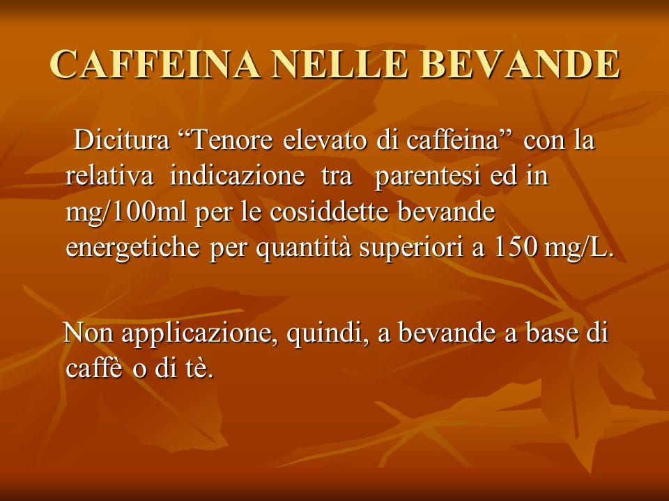 CAFFEINA NELLE BEVANDE