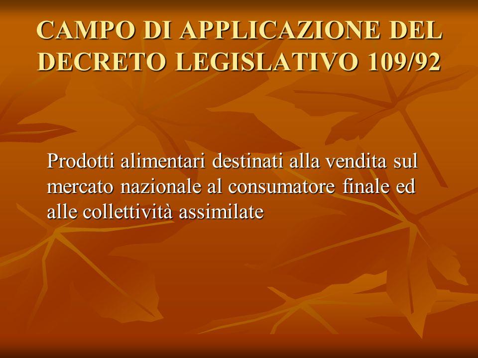 CAMPO DI APPLICAZIONE DEL DECRETO LEGISLATIVO 109/92