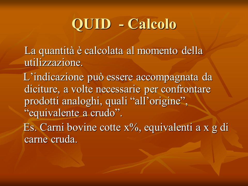 QUID - Calcolo La quantità è calcolata al momento della utilizzazione.