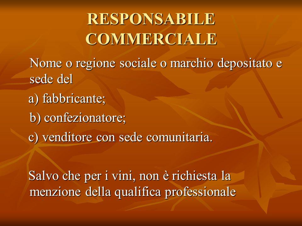 RESPONSABILE COMMERCIALE