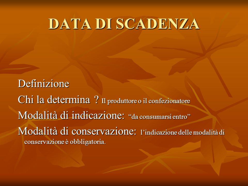 DATA DI SCADENZA Definizione