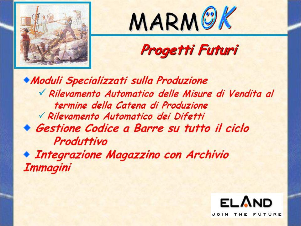 Progetti Futuri Moduli Specializzati sulla Produzione. Rilevamento Automatico delle Misure di Vendita al termine della Catena di Produzione.