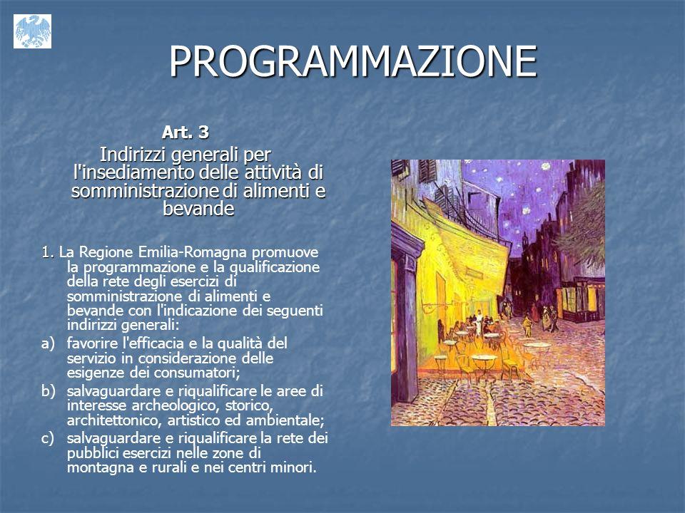 PROGRAMMAZIONE Art. 3. Indirizzi generali per l insediamento delle attività di somministrazione di alimenti e bevande.