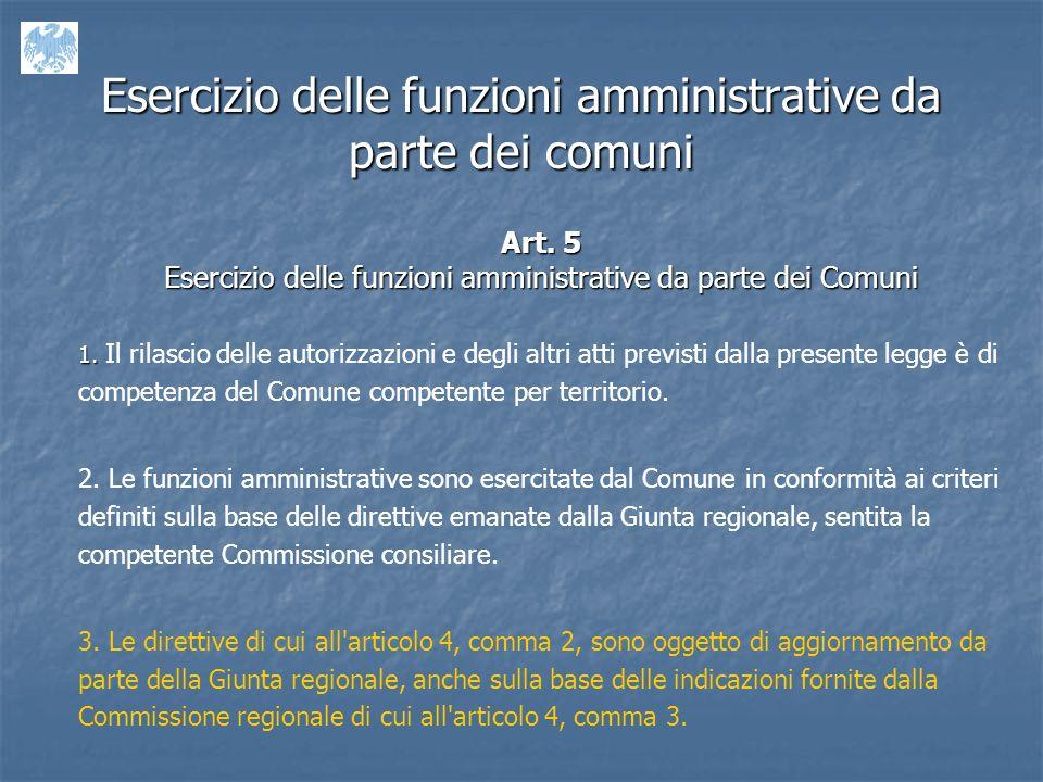 Esercizio delle funzioni amministrative da parte dei comuni