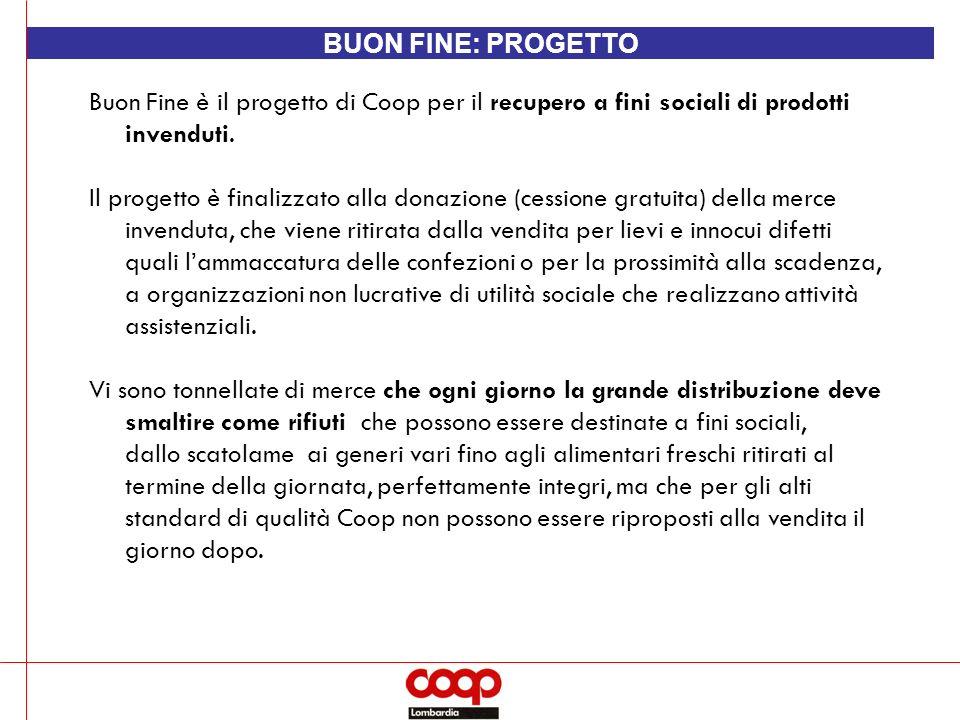 BUON FINE: PROGETTO Buon Fine è il progetto di Coop per il recupero a fini sociali di prodotti invenduti.
