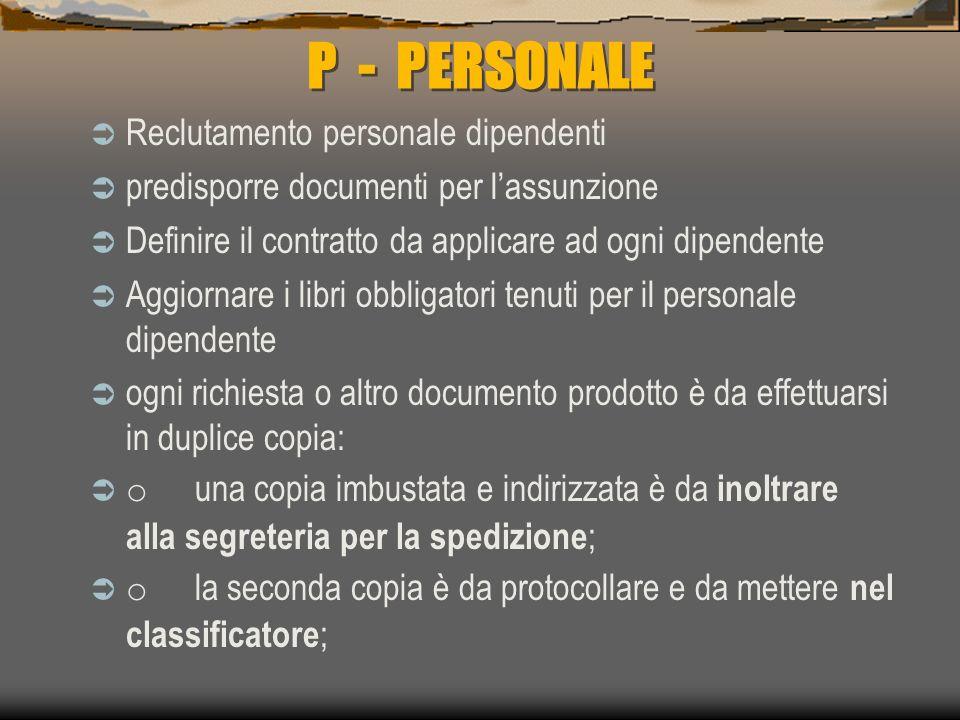 P - PERSONALE Reclutamento personale dipendenti