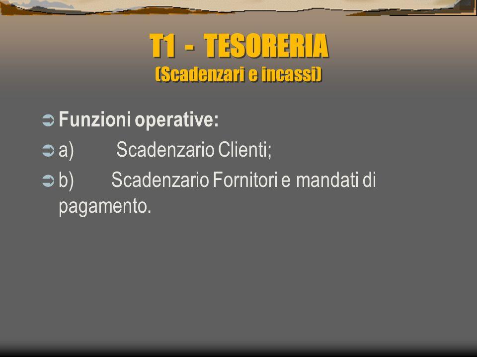 T1 - TESORERIA (Scadenzari e incassi)