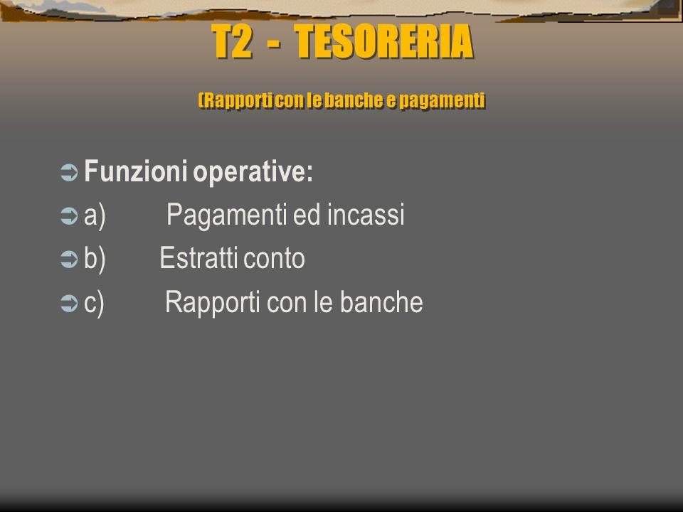T2 - TESORERIA (Rapporti con le banche e pagamenti