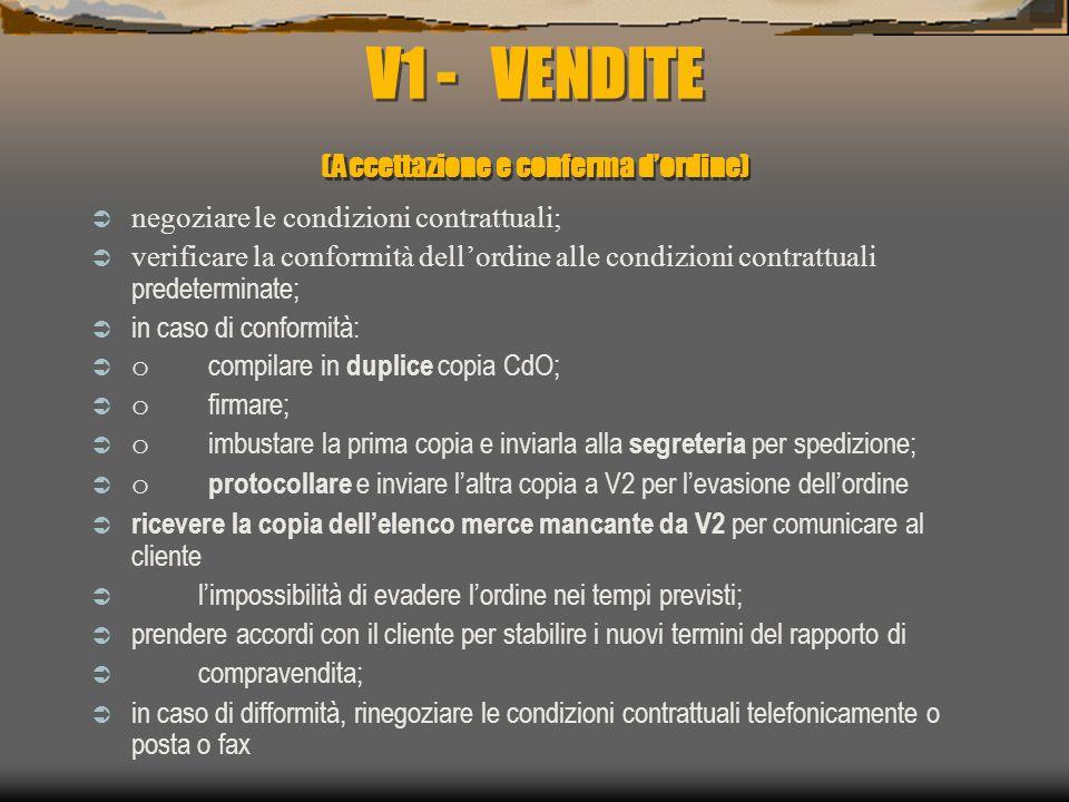 V1 - VENDITE (Accettazione e conferma d'ordine)