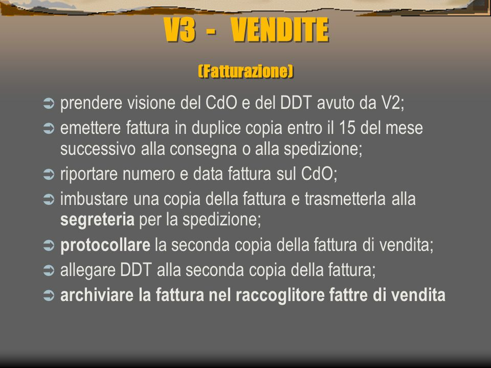 V3 - VENDITE (Fatturazione)