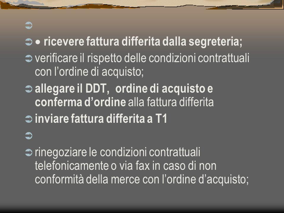 · ricevere fattura differita dalla segreteria; verificare il rispetto delle condizioni contrattuali con l'ordine di acquisto;
