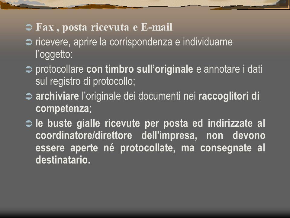 Fax , posta ricevuta e E-mail