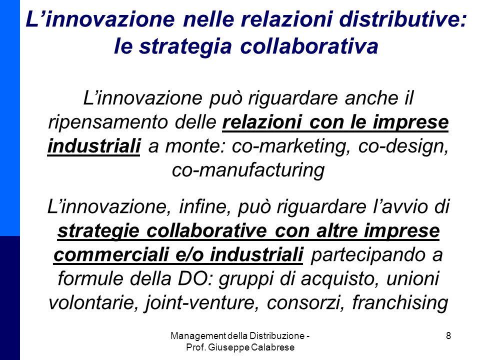L'innovazione nelle relazioni distributive: le strategia collaborativa