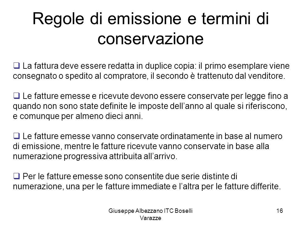 Regole di emissione e termini di conservazione