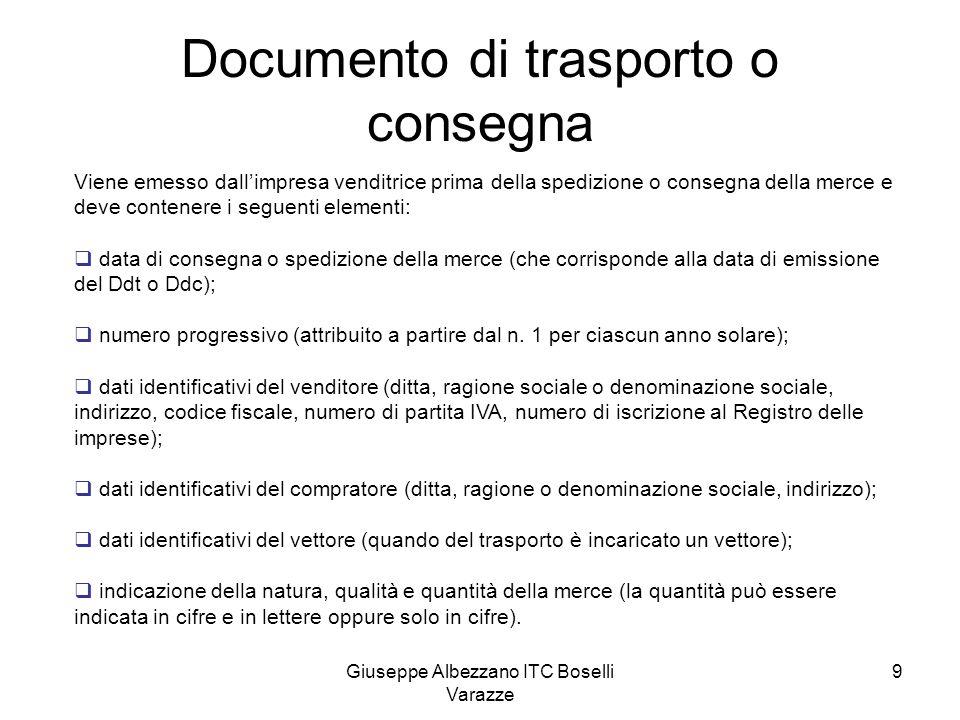 Documento di trasporto o consegna