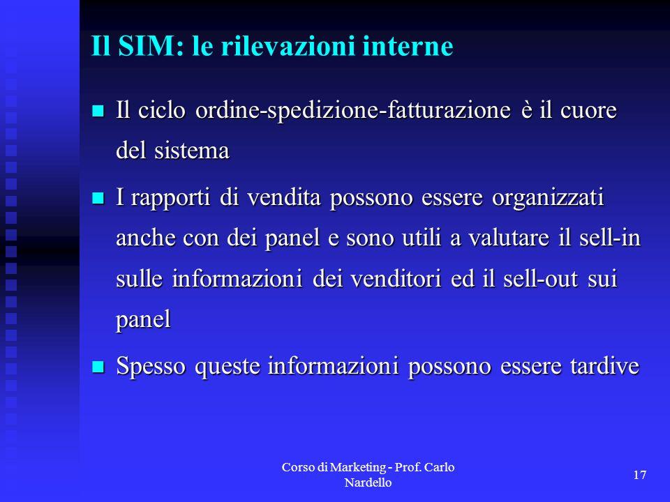 Il SIM: le rilevazioni interne