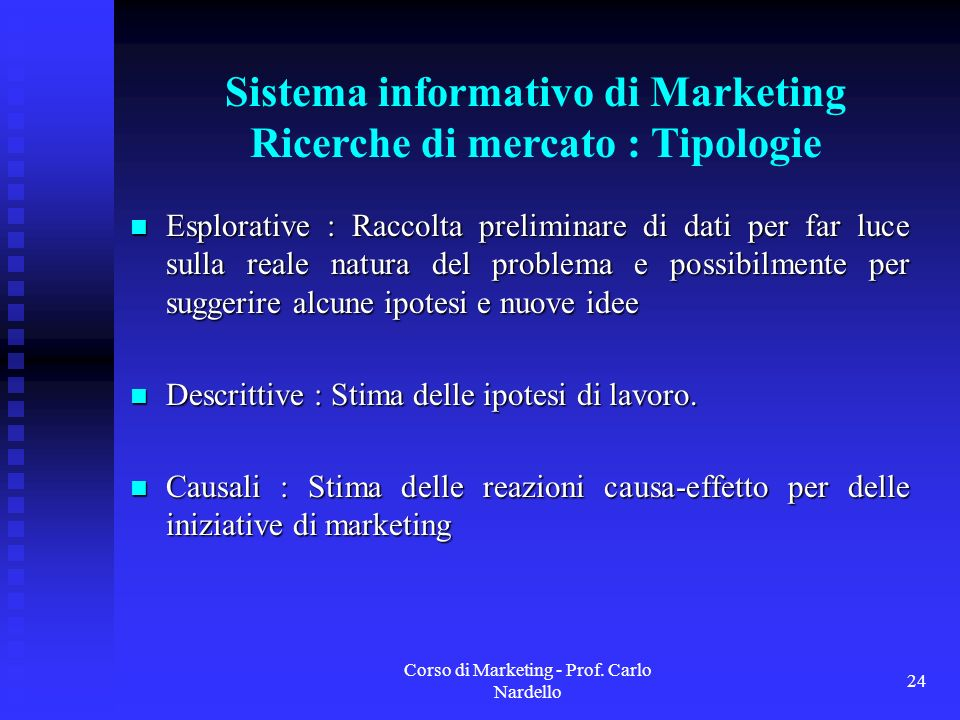 Sistema informativo di Marketing Ricerche di mercato : Tipologie