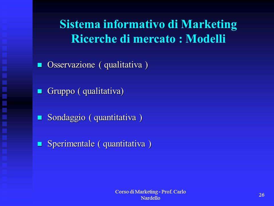 Sistema informativo di Marketing Ricerche di mercato : Modelli