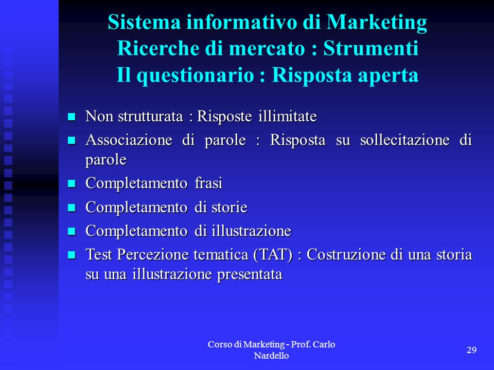 Corso di Marketing - Prof. Carlo Nardello
