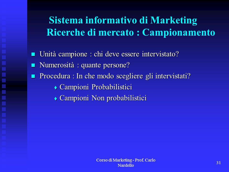 Sistema informativo di Marketing Ricerche di mercato : Campionamento