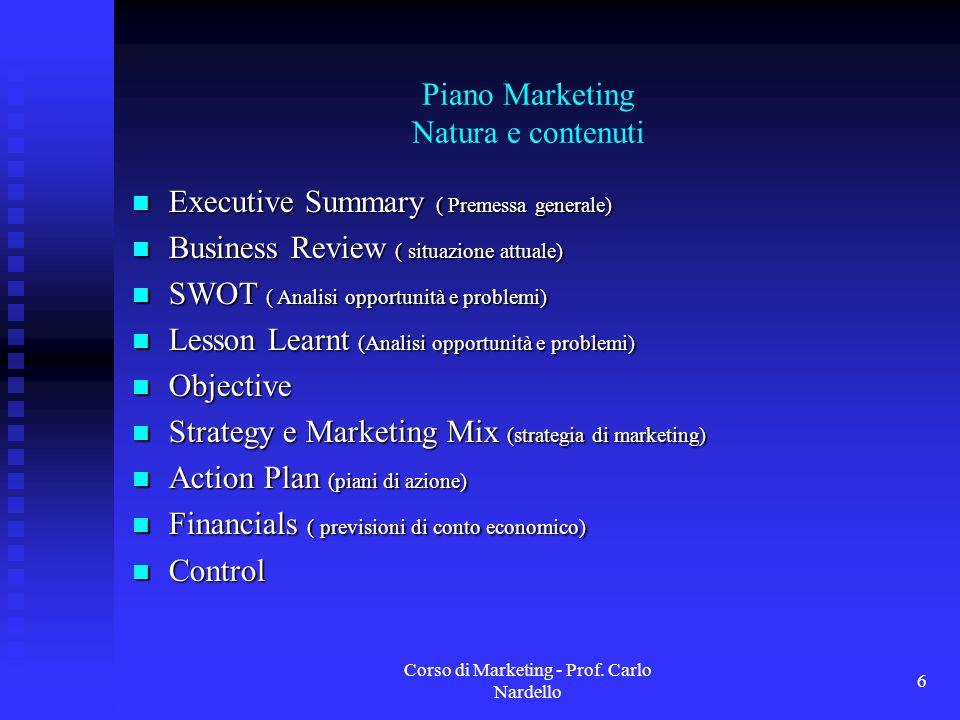 Piano Marketing Natura e contenuti