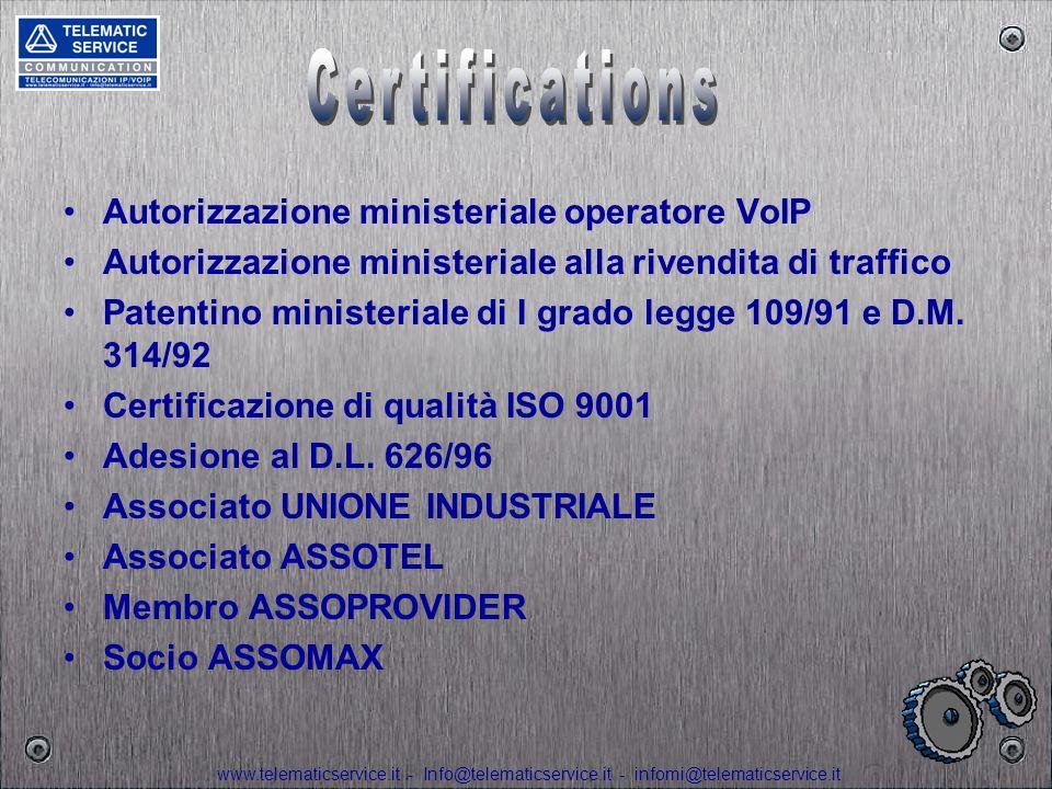 Certifications Autorizzazione ministeriale operatore VoIP