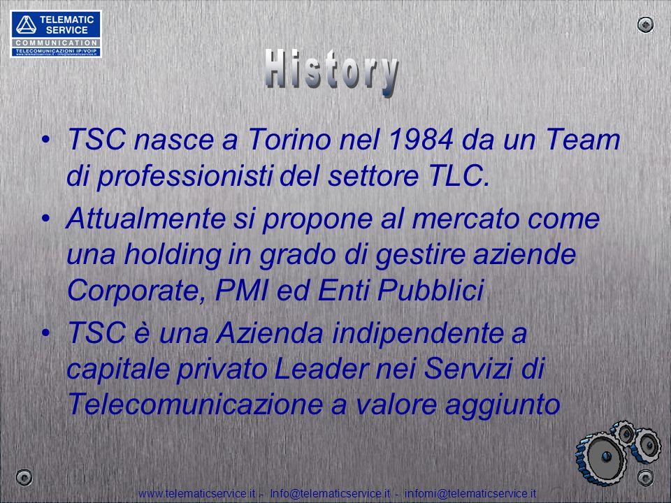 History TSC nasce a Torino nel 1984 da un Team di professionisti del settore TLC.