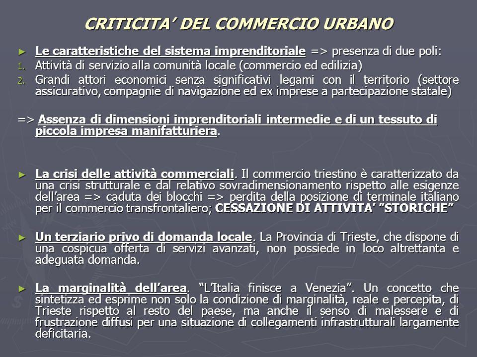 CRITICITA' DEL COMMERCIO URBANO