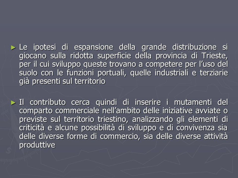 Le ipotesi di espansione della grande distribuzione si giocano sulla ridotta superficie della provincia di Trieste, per il cui sviluppo queste trovano a competere per l'uso del suolo con le funzioni portuali, quelle industriali e terziarie già presenti sul territorio