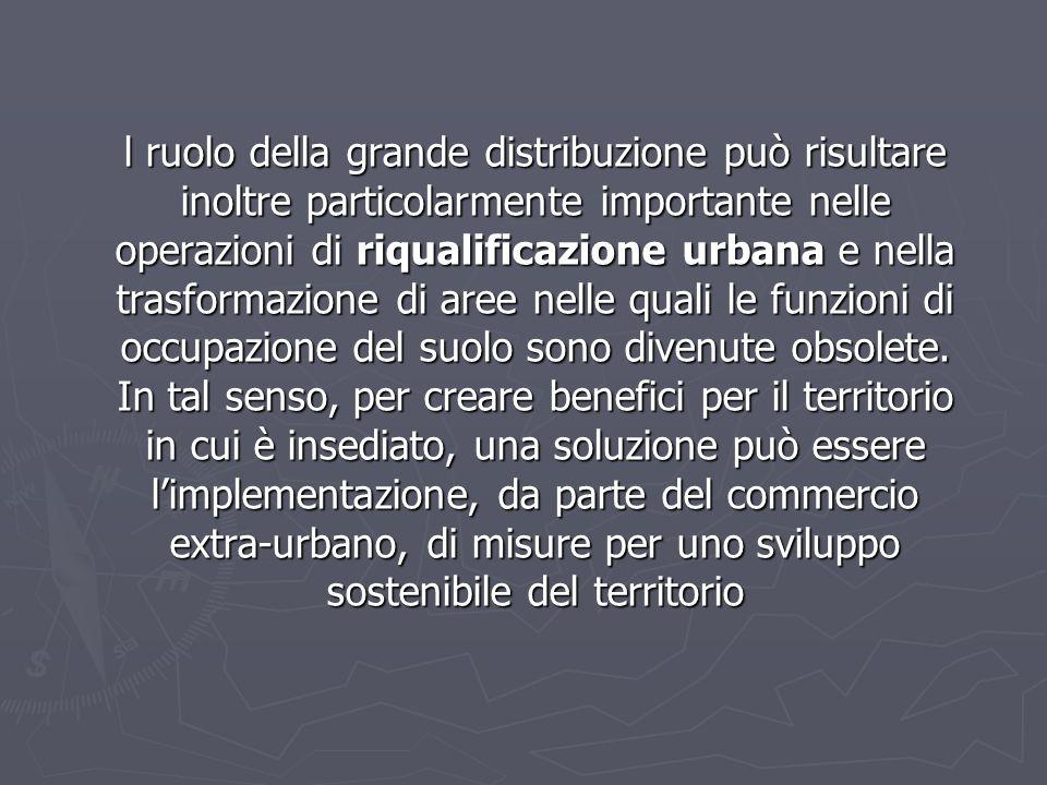 l ruolo della grande distribuzione può risultare inoltre particolarmente importante nelle operazioni di riqualificazione urbana e nella trasformazione di aree nelle quali le funzioni di occupazione del suolo sono divenute obsolete.