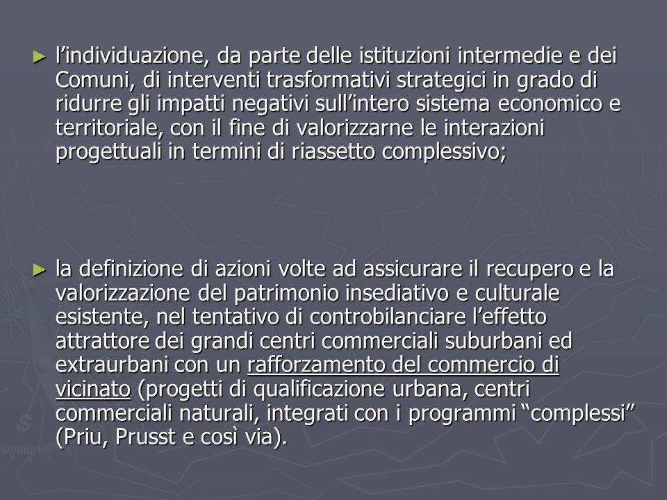l'individuazione, da parte delle istituzioni intermedie e dei Comuni, di interventi trasformativi strategici in grado di ridurre gli impatti negativi sull'intero sistema economico e territoriale, con il fine di valorizzarne le interazioni progettuali in termini di riassetto complessivo;