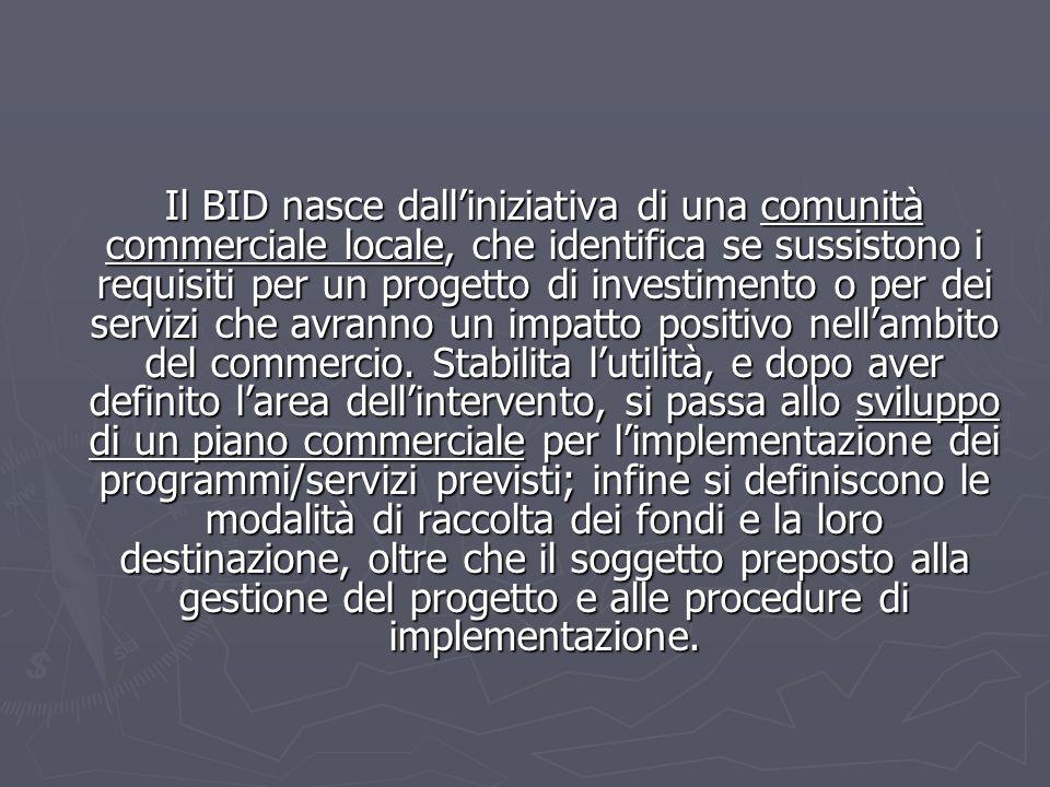 Il BID nasce dall'iniziativa di una comunità commerciale locale, che identifica se sussistono i requisiti per un progetto di investimento o per dei servizi che avranno un impatto positivo nell'ambito del commercio.