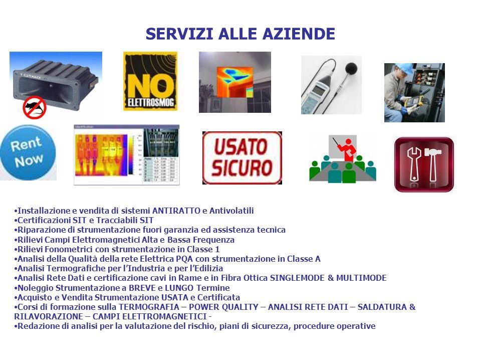 SERVIZI ALLE AZIENDE Installazione e vendita di sistemi ANTIRATTO e Antivolatili. Certificazioni SIT e Tracciabili SIT.