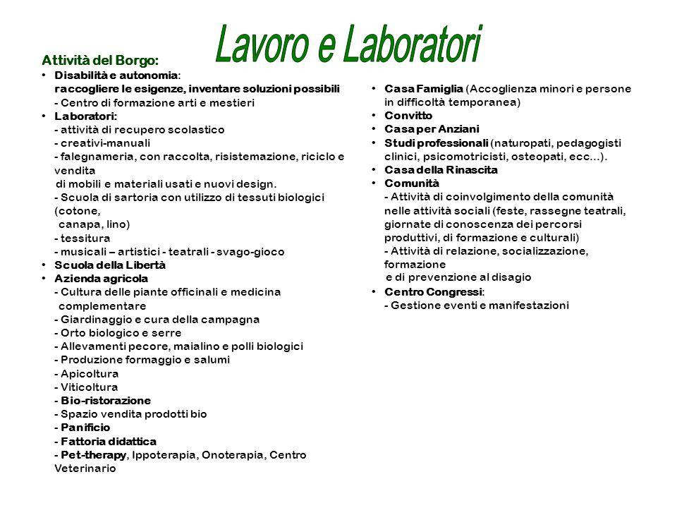 Lavoro e Laboratori Attività del Borgo: Disabilità e autonomia: