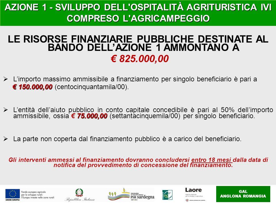 AZIONE 1 - SVILUPPO DELL OSPITALITÀ AGRITURISTICA IVI COMPRESO L AGRICAMPEGGIO