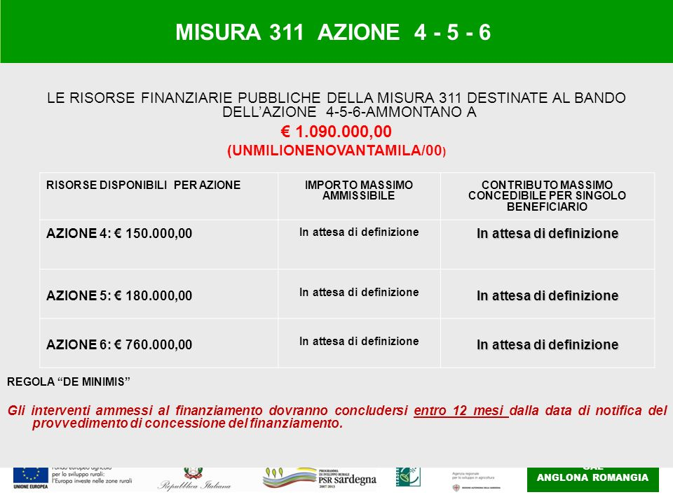 MISURA 311 AZIONE 4 - 5 - 6 LE RISORSE FINANZIARIE PUBBLICHE DELLA MISURA 311 DESTINATE AL BANDO DELL'AZIONE 4-5-6-AMMONTANO A.