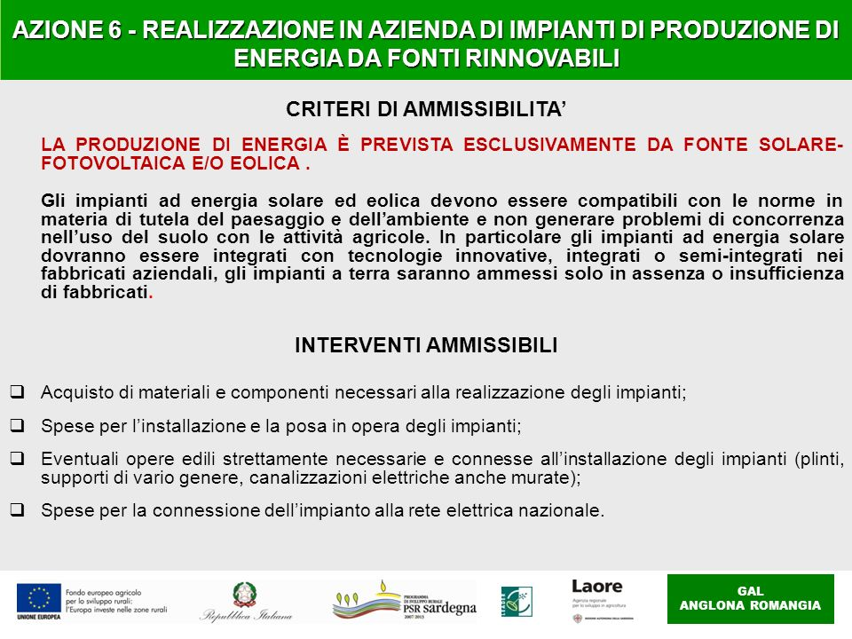 CRITERI DI AMMISSIBILITA' INTERVENTI AMMISSIBILI