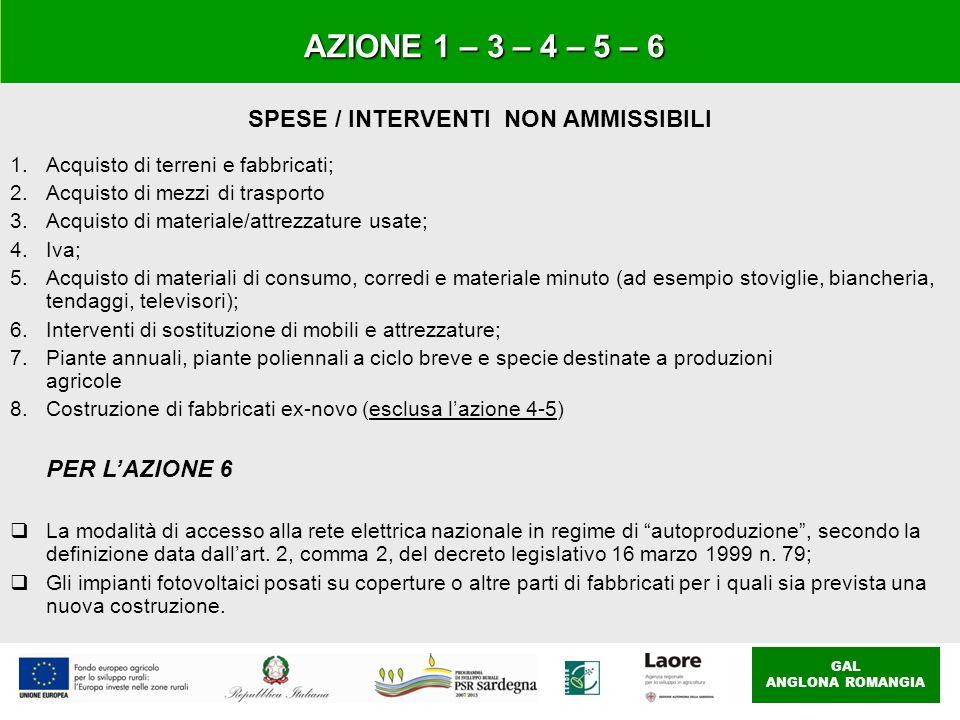 SPESE / INTERVENTI NON AMMISSIBILI