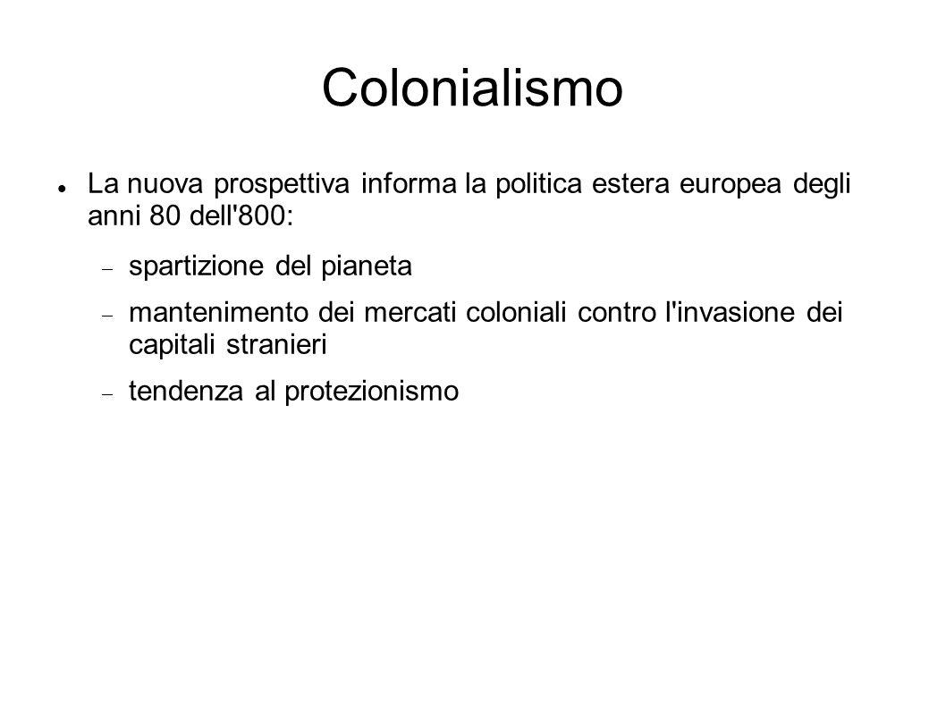 Colonialismo La nuova prospettiva informa la politica estera europea degli anni 80 dell 800: spartizione del pianeta.